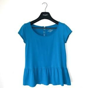 ANN TAYLOR BACK ZIP TEAL PEPLUM T-SHIRT TOP